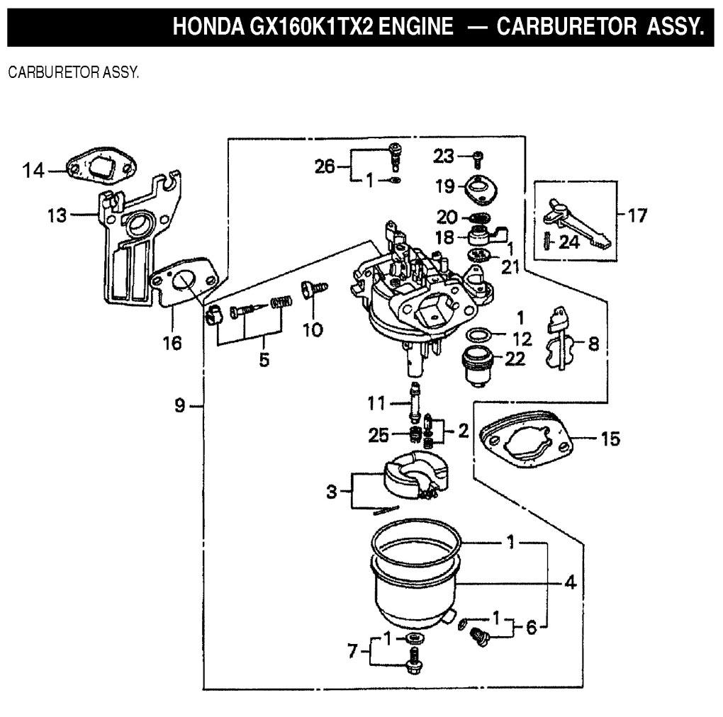 construction equipment parts jlg parts from www gciron com rh gcironparts com Honda GCV160 5.5 Carburetor Honda TRX 250 Carburetor Schematic