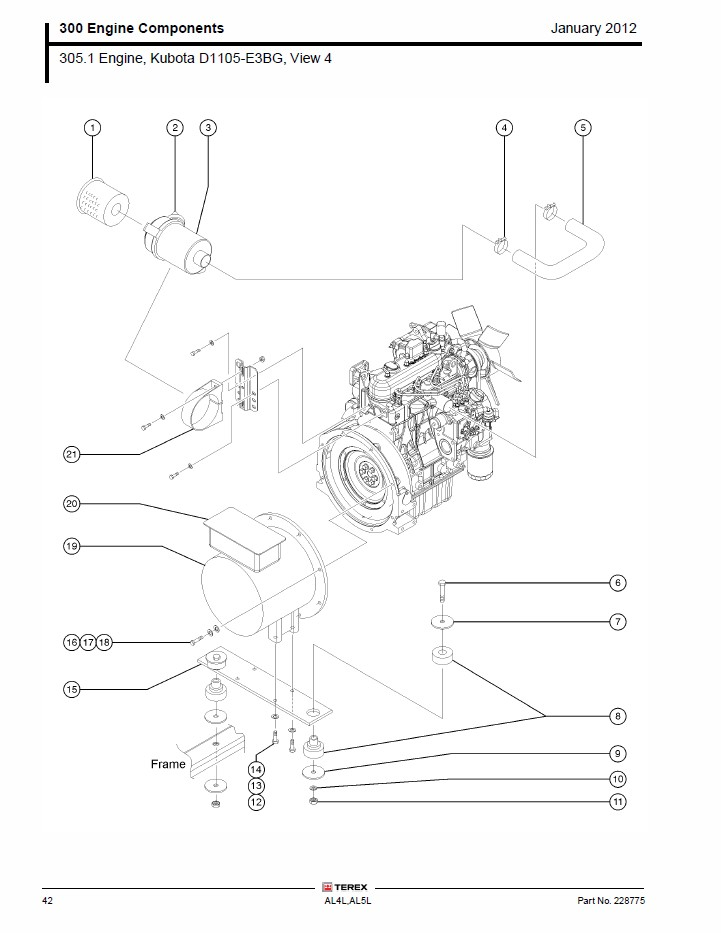 kubota engine parts diagram